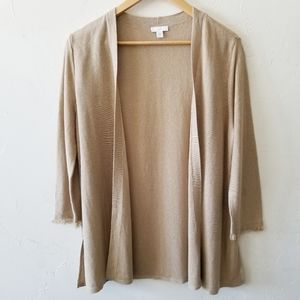 J. Jill Linen Blend Frayed Sleeve Open Cardigan